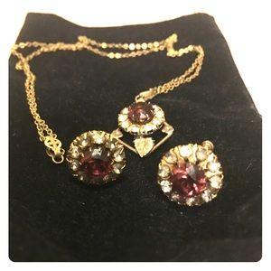 Jewelry - Antique Amethyst & Diamond necklace/earring set